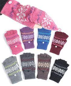 Snowflake Pattern Fingerless Gloves Mitten Cover « Clothing Impulse