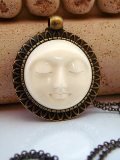 Moon Goddess Necklace/ Moon Face Necklace/ by lululovestocreate