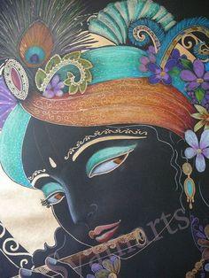 Krishna drawing Lord of love black gold devotional drawing portrait Syamarts spiritual art flute player Canvas prints custom art on request Indian Art Paintings, Spiritual Art, Hindu Art, Drawings, Painting, Art, Original Drawing, Canvas Painting, Krishna Art