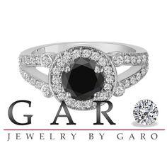 1.58 Carat Certified 18k White Gold Natural Black by JewelryByGaro