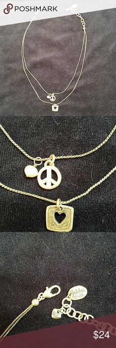 """Brighton Pleace Love and Gratitude Necklace Cute peace sign, framed heart and pearl charms. Gratitude tag at the closure. Shiny and in great shape. 18"""" adjustable length. Brighton Jewelry Necklaces"""