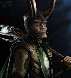 My first drawing of #Marvel #Loki (as played by #TomHiddleston) alone. I made a #fanart picture of #Thor with him in the background before, but back then I didn't really know the character.