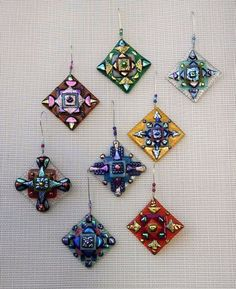 Fused Glass Ornaments by glassfusedbysuzanne on Etsy