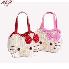 2016 Spring Kute Cartoon Hello Kitty Bags for Women Shoulder Bag Totes Ladies Straw Weaving Summer Beach Bag Handbag Rattan Bag