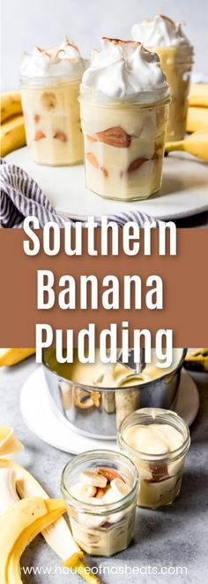 This Homemade Banana Pudding recipe is a classic Southern dessert made with layers of sliced fresh bananas, an easy homemade custard, Nilla wafers, and topped with a light and fluffy meringue! It's the perfect way to finish any Southern meal! Banana Pudding Ingredients, Homemade Banana Pudding, Banana Pudding Recipes, Custard Recipes, Nilla Wafer Banana Pudding, Banana Custard Recipe, Southern Desserts, Southern Recipes, Easy Desserts