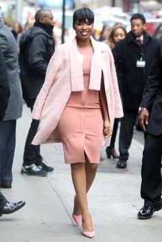 Get the Look: Jennifer Hudson's Good Morning America Corey Lynn Calter Pink Fuzzy Wool Coat, Max Mara Shift Dress, and Manolo Blahnik Pumps
