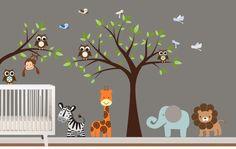 Childrens Vinyl Tree Decal Animal Vinyl Wall Art Decal - Nursery -Birds, Owls and Zebra