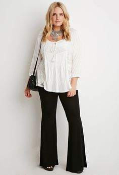 Stretch Knit Flared Pants | Forever 21 PLUS - 2000167071