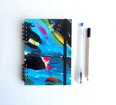 Handmade Notebook. Hardcover blue and black hand by kinmcuadernos, €12.00