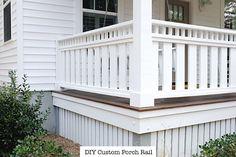 Modest widened front porch design you could try this out Porch Railing Designs, Front Porch Railings, Front Porch Design, Deck Railings, Deck Design, Aluminum Railings, Front Deck, Deck Railing Ideas Diy, Veranda Railing