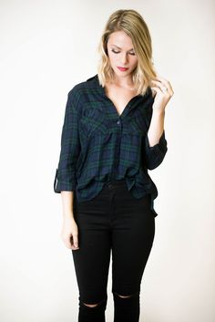 Lumberjack has never looked so good! Roll up sleeve blouse has a tartan plaid…