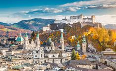 Photo about Aerial view of the historic city of Salzburg with Hohensalzburg Fortress in beautiful evening light in fall, Salzburger Land, Austria. Image of autumn, fortress, europe - 47164453 Innsbruck, Dubrovnik, Budapest, Promenade En Bateau, National Geographic, Ville France, Belle Villa, Cities In Europe, Most Beautiful Cities