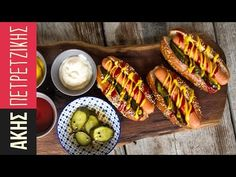 Hot Dogs with homemade buns by Greek chef Akis Petretzikis. Make your own delicious soft, puffy homemade hot dog buns and just add juicy hot dogs and toppings! Dog Bread, Bread Cake, Hot Dog Buns, Hot Dogs, Homemade Buns, Baking Buns, Junk Food, Fish Dishes, Greek Recipes