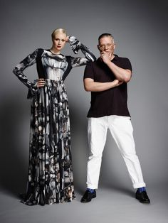 Gwendoline Christie and Giles Deacon, photographed in London.  Photograph by John Akehurst.