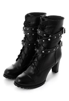 Strapped Stud Heel Biker Boots - Retro, Indie and Unique Fashion Biker Boots, Combat Boots, Biker Gear, Motorcycle Boots, Crazy Shoes, Me Too Shoes, Ysl, Bootie Boots, Shoe Boots