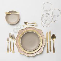 RENT: Anna Weatherley Chargers in Desert Rose/Gold + Versailles Glass Dinnerware in 24k Gold + Heath Ceramics in French Grey + Chateau Flatware in Matte Gold + Chloe 24k Gold Rimmed Stemware + Antique Crystal Salt Cellars  SHOP:Chloe 24k Gold Rimmed Stemware