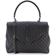 Monogram Large Tri-Quilt College Shoulder Bag, Dark Gray by Saint Laurent at Neiman Marcus. Quilted Shoulder Bags, Chain Shoulder Bag, Leather Shoulder Bag, Shoulder Handbags, Ysl Saint Laurent, Saint Laurent Handbags, Beautiful Handbags, Beautiful Bags, Leather Purses