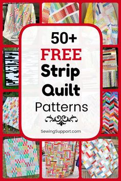 Over 50 free patterns, tutorials, and diy sewing projects for strip quilts - many great for use with inch jelly roll fabric bundles. Jellyroll Quilts, Scrappy Quilts, Easy Quilts, Strip Quilt Patterns, Jelly Roll Quilt Patterns, Quilting Ideas, Quilting Projects, Quilting Designs, Charity Ideas