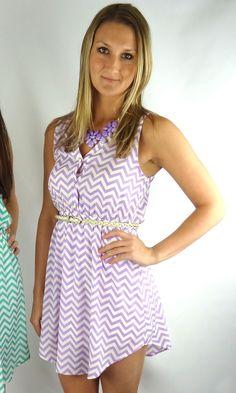 EVERLY Sleeveless Chevron Dress - Lavender/White | .H.C.B.