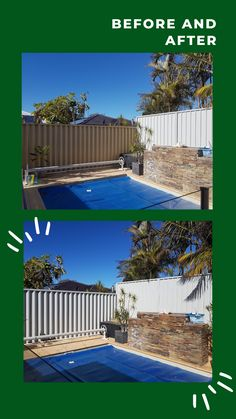 BEFORE | AFTER See how we spray painted this yellow hardie fence to match the newly installed colorbond 👌🏼