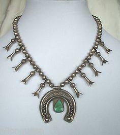 Diminutive Vintage Tribal Sterling Silver Turquoise Squash Blossom Necklace | eBay