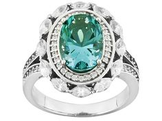 Bella Luce (R) 5.25ctw Caribbean Green (Tm) & White Diamond Simulant Rhodium Over Silver Ring