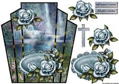 Art Deco Frame Sympathy Water fall 2 on Craftsuprint designed by Marijke Kok - beautiful design with a waterfall and vintage roses in art deco frame - Now available for download!