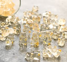 Homemade champagne flavored gummy bears with edible gold flakes. These are perfect for gifting, party favors and more. Gold Party, Champagne Gummy Bears, Champagne Jello Shots, Party Favors, Peanut Butter Mug Cakes, Pineapple Cake, Sweet Tooth, Sweet Treats, Champagne