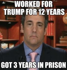 Michael Cohen testifies about his dealings and relationship with President Trump. His testimony has inpsired many hilarious memes. Come enjoy these memes. Funny Memes, Hilarious, Crazy People, Satire, 3 Years, Sentences, Prison, Donald Trump, Presidents