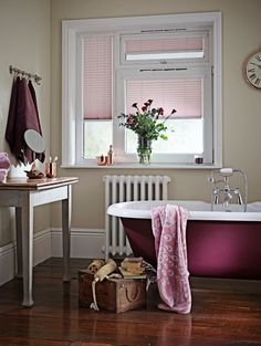 Pleated blinds from Apollo Blinds. Dulux colour of the year Contemporary pink colour inspiration for the bathroom. Heart Wood home decor inspiration. Fabric Blinds, Curtains With Blinds, Blinds For Windows, Window Blinds, Blinds Diy, Roman Blinds, Patio Blinds, Outdoor Blinds, Bamboo Blinds