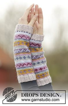 Ravelry: 165-5 Sweet As Candy Wrist Warmers pattern by DROPS design