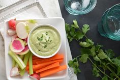 Avocado Lime Yogurt Dipping Dressing - Skip the honey in the recipe and use fat-free Greek yoghurt instead of 2% - Weeks 2 & 3