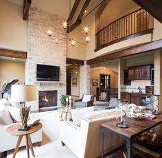 Family room, high ceilings, stone fireplace