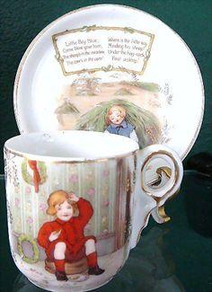 Little Boy Blue -- Royal Bayreuth Nursery Rhyme Cup & Saucer Set