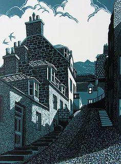 Original lino prints by Scottish Artist Bryan Angus Photographs And Memories, Linoprint, Linocut Prints, Woodcut Art, Impressionist Paintings, Wood Engraving, Woodblock Print, Silkscreen, Printmaking