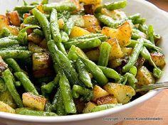 Bratkartoffel-Bohnen-Salat mit Basilikumpesto