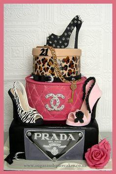Designer Brands Sexy 21st ~ - by MelSugarMama @ CakesDecor.com - cake decorating website