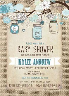 Burlap Rustic Baby Boy Shower Invitation Mason Jar by Silvergaze