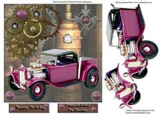 32 Ford Pickup Hot Rod Steampunk Card Topper with decoupage on Craftsuprint - Add To Basket!