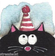 The Birthday cat. Fat Cat Series Mini 2 x 2 inch Watercolor.