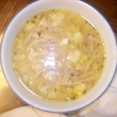 Chicken Corn Soup with Rivels You have to use an old fowl to get the best broth and cut the corn twice.