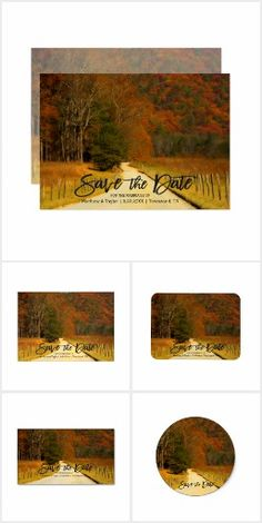 Country Fences Fall Wedding Save The Date This wedding save the date collection features nature landscape photography of a beautiful Smoky Mountain country road in the fall. Great for a Smokies, country, rustic, mountain or destination wedding. Matching products are available in my shop. Email me @ support@tlcgraphix.com if you need any assistance with this product or have any special design requests requests.