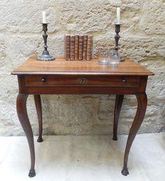"Table - Louis XV circa 1750 - Walnut - Great legs and a one board top - ""Pied de Biche"" or Faun Feet - H 28"" x W 29"" x D 20"""