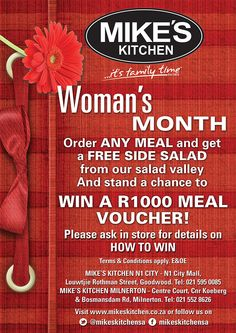 Mike's Kitchen City and Milnerton invite you to celebrate Woman's Month Womens Month, Invite, Invitations, Side Salad, How To Apply, City, Kitchen, Free, Cooking