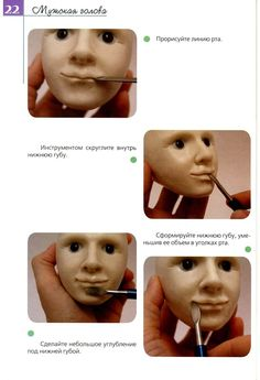 View album on Yandex. Polymer Clay Recipe, Easy Polymer Clay, Polymer Clay Dolls, Clown Face Paint, Body Tutorial, Sculpture Techniques, Clown Faces, Making Faces, Paperclay