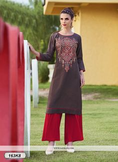 Buy Angellic Brown Colored Khadi Cotton Designer Kurti Online at Satrani fashion. Best Designer Kurti available online for women at best price. Buy Now!
