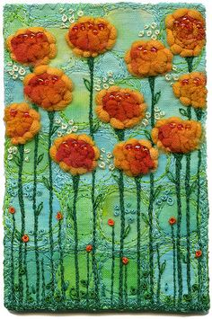 Glasgow Roses, Orange | Machine and hand embroidery. Yarns a… | Flickr