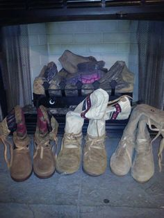 Jennifer Halstead - the old and the new.... - my fireplace #mukluk #stegermukluks