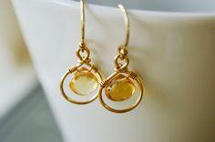 Citrine Drop Earrings, 14k Gold Yellow Gemstone Jewelry - Dainty Friend Girlfriend Bridesmaid Gift - November Birthstone - twoblindmice