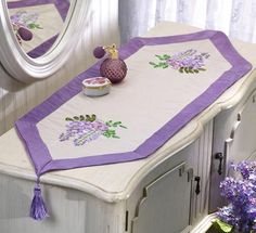 Wisteria Ribbon Embroidery White Satin Runner